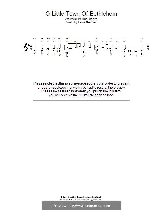 O Little Town of Bethlehem: For guitar by Lewis Henry Redner