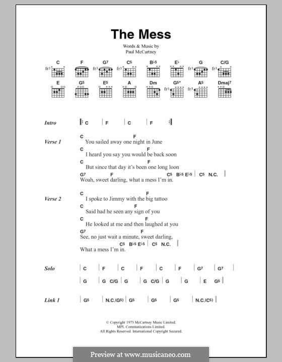 The Mess (Wings): Lyrics and chords by Paul McCartney