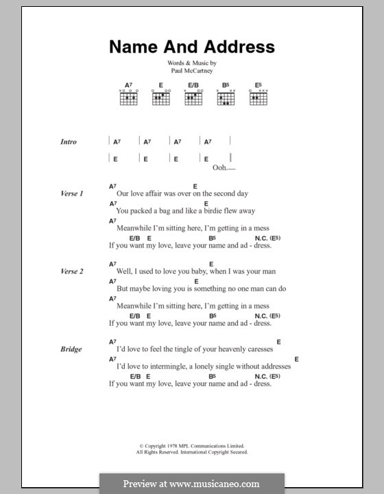 Name and Address (Wings): Lyrics and chords by Paul McCartney