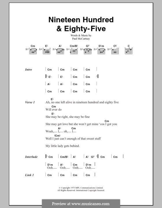 Nineteen Hundred and Eighty Five (Wings): Lyrics and chords by Paul McCartney