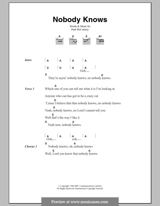 Nobody Knows: Lyrics and chords by Paul McCartney
