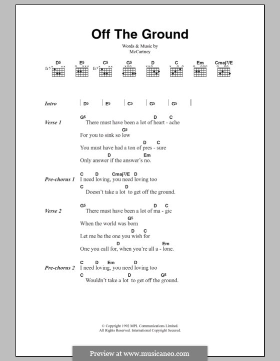Off the Ground: Lyrics and chords by Paul McCartney