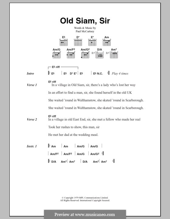 Old Siam, Sir (Wings): Lyrics and chords by Paul McCartney