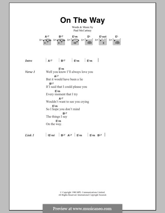 On the Way: Lyrics and chords by Paul McCartney