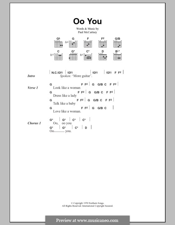 Oo You (The Beatles): Lyrics and chords by John Lennon, Paul McCartney