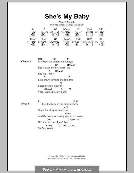 She's My Baby (Wings): Lyrics and chords by Linda McCartney, Paul McCartney