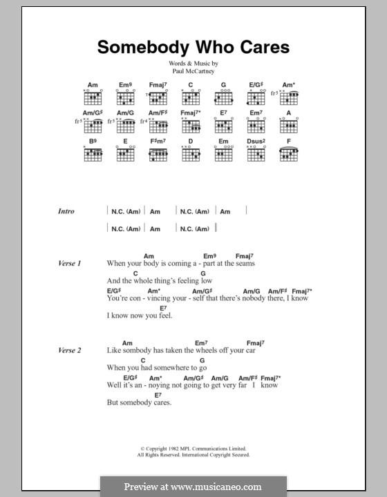 Somebody Who Cares: Lyrics and chords by Paul McCartney
