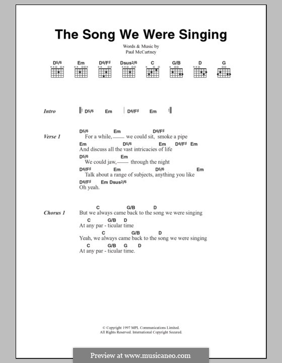 The Song We Were Singing: Lyrics and chords by Paul McCartney