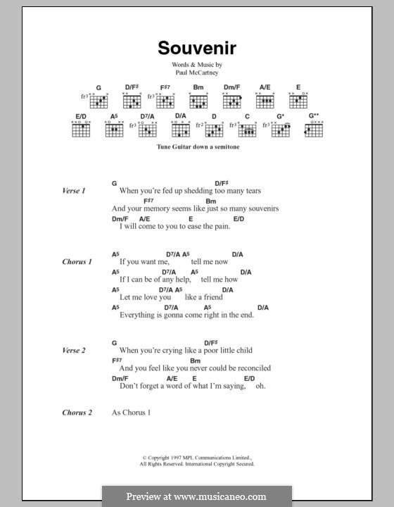 Souvenir: Lyrics and chords by Paul McCartney