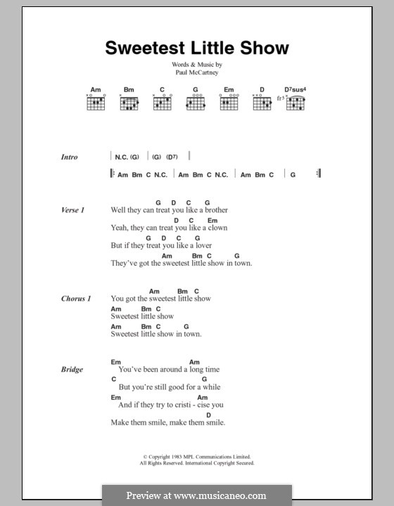 Sweetest Little Show: Lyrics and chords by Paul McCartney