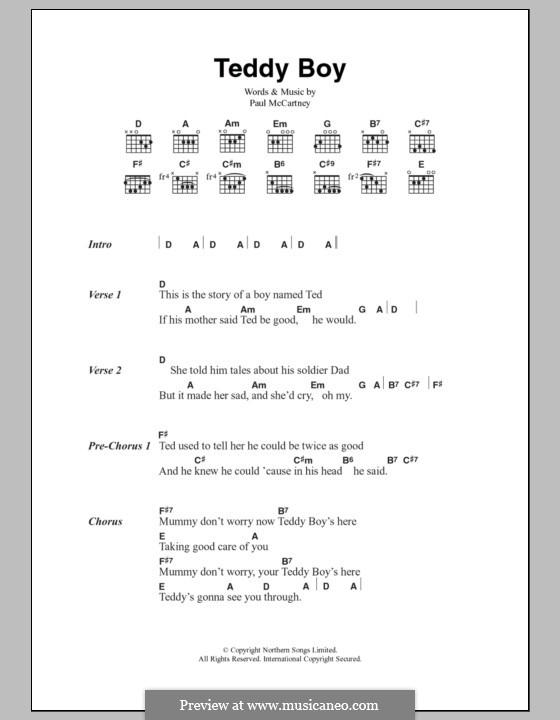 Teddy Boy: Lyrics and chords by Paul McCartney