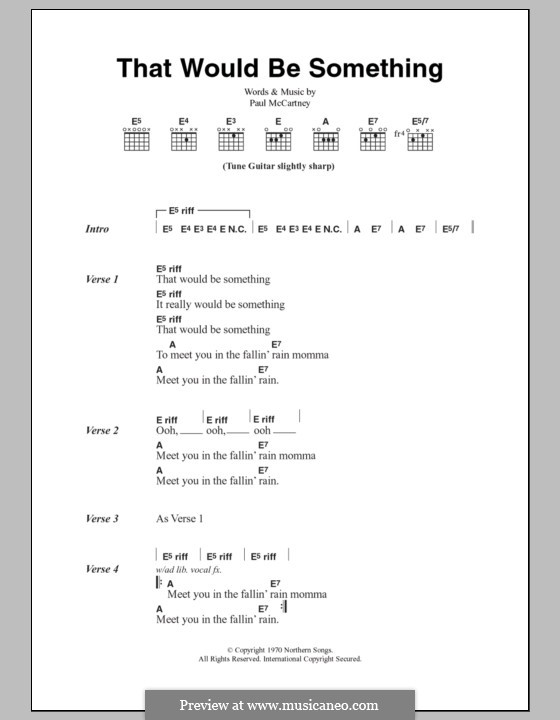 That Would Be Something: Lyrics and chords by Paul McCartney