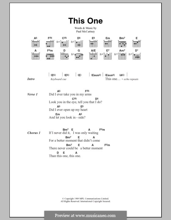 This One: Lyrics and chords by Paul McCartney