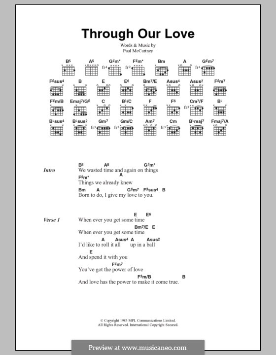 Through Our Love: Lyrics and chords by Paul McCartney