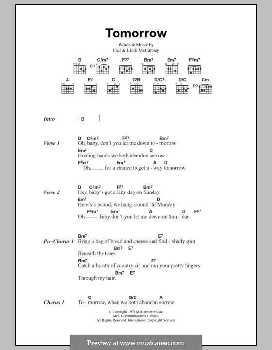 Tomorrow by L. McCartney, P. McCartney - sheet music on MusicaNeo