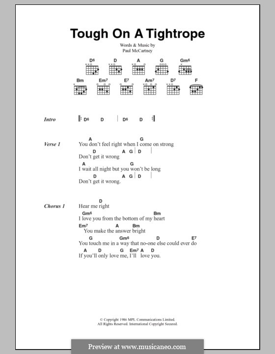 Tough on a Tightrope: Lyrics and chords by Paul McCartney