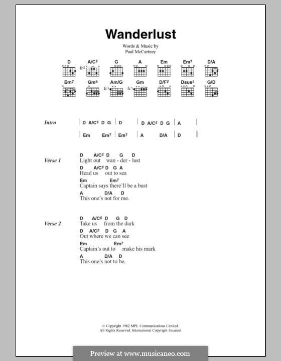 Wanderlust By P Mccartney Sheet Music On Musicaneo