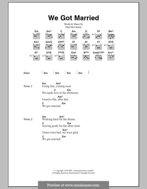 We Got Married: Lyrics and chords by Paul McCartney