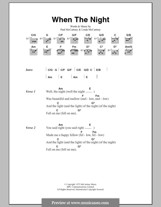 When the Night: Lyrics and chords by Linda McCartney, Paul McCartney