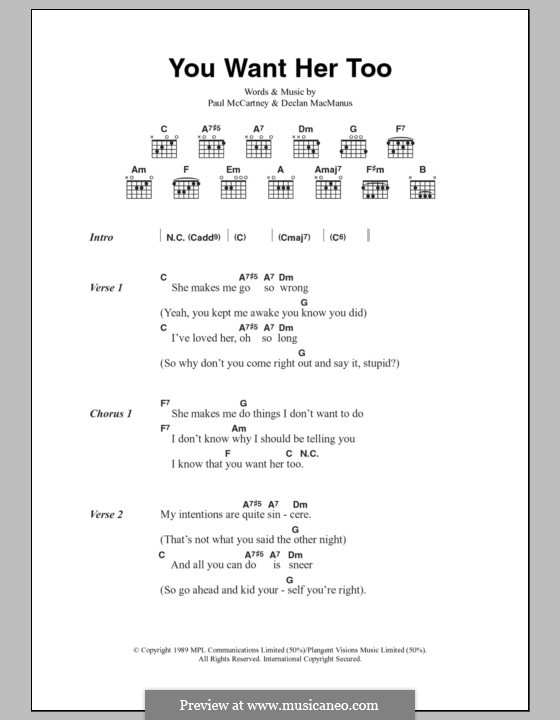 You Want Her Too: Lyrics and chords by Declan Macmanus, Paul McCartney