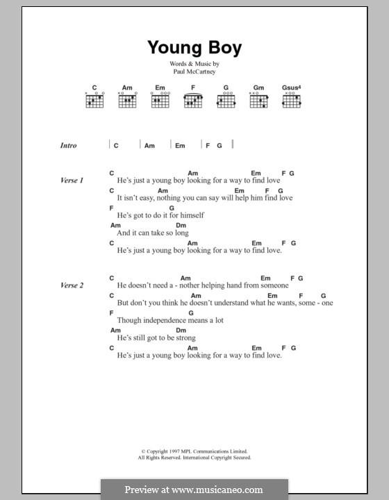Young Boy: Lyrics and chords by Paul McCartney