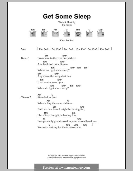 Get Some Sleep: Lyrics and chords by Bic Runga