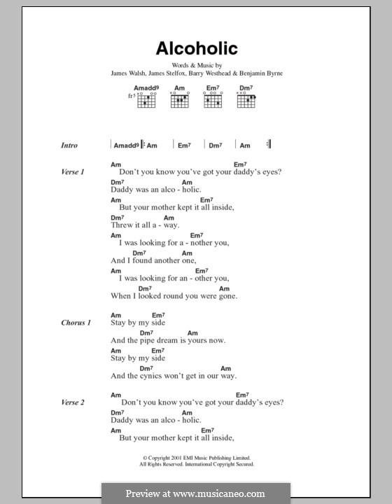 Alcoholic (Starsailor): Lyrics and chords by Barry Westhead, Benjamin Byrne, James Stelfox, James Walsh