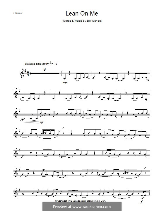 Lean on Me: For clarinet by Bill Withers