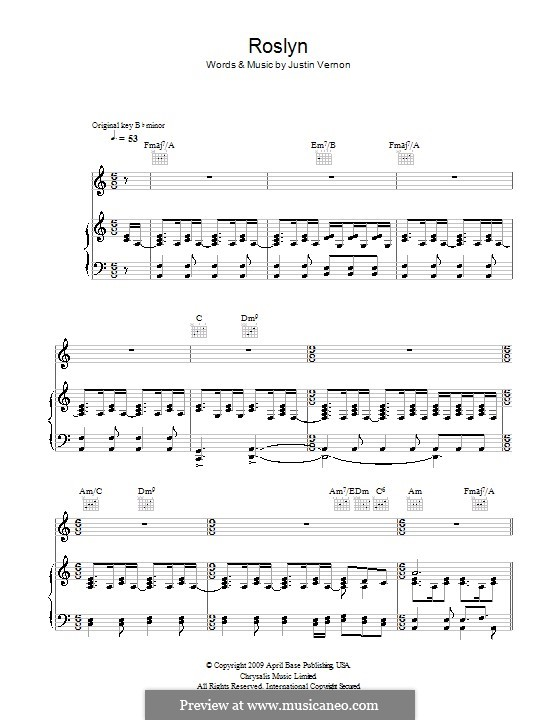 Roslyn (Bon Iver & St. Vincent): For voice and piano (or guitar) by Justin Vernon
