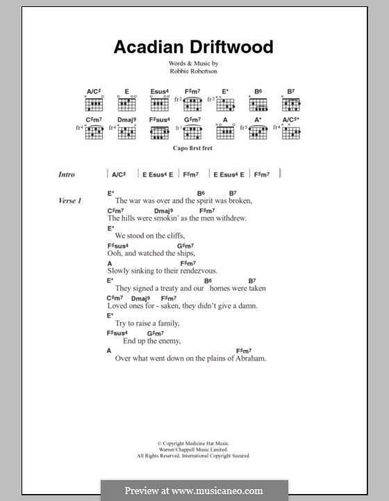 Acadian Driftwood (The Band): Lyrics and chords by Robbie Robertson