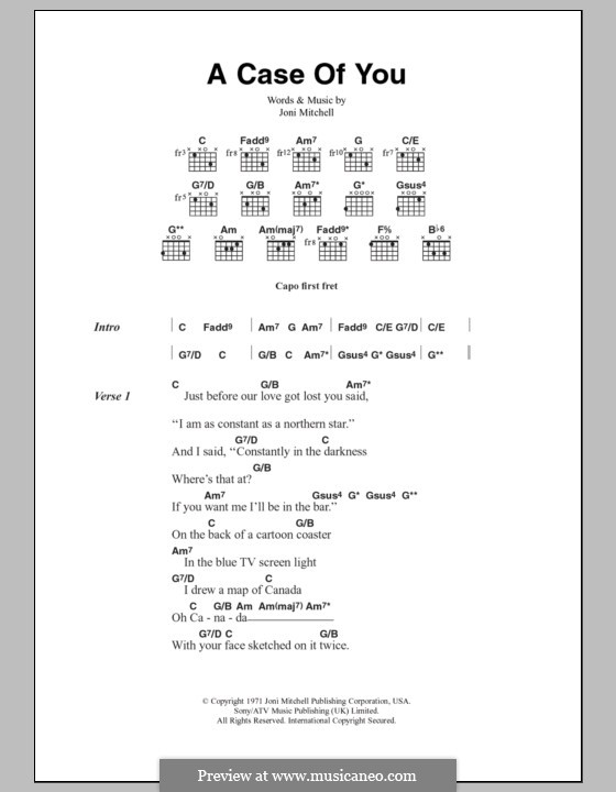 A Case of You (Diana Krall): Lyrics and chords by Joni Mitchell