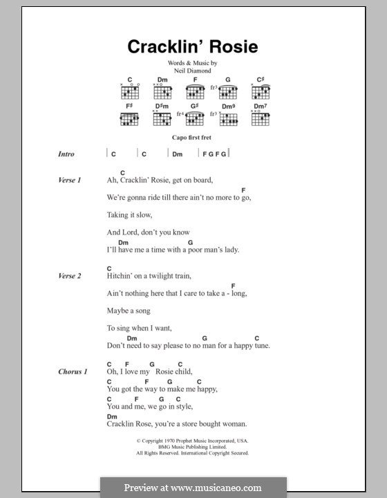 Cracklin' Rosie: Lyrics and chords by Neil Diamond