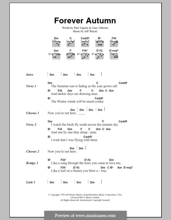 Forever Autumn (from War of the Worlds): Lyrics and chords by Jeff Wayne