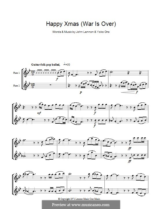 Happy Xmas (War Is Over): For two flutes by John Lennon, Yoko Ono