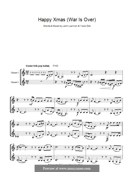 Happy Xmas (War Is Over): For two clarinets by John Lennon, Yoko Ono
