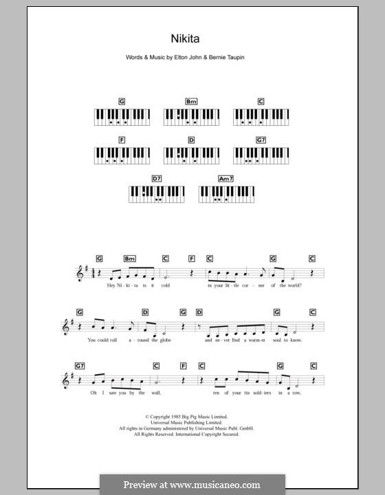 Nikita: For keyboard by Elton John