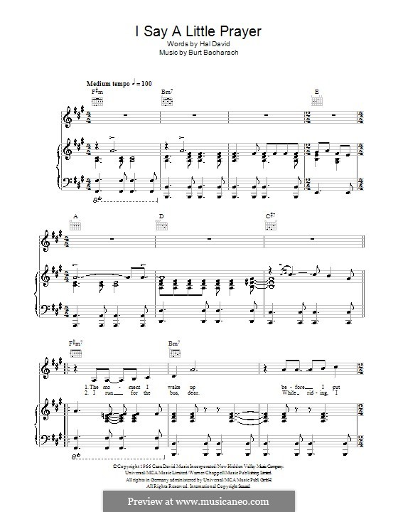 I Say a Little Prayer: For voice and piano (Aretha Franklin) by Burt Bacharach