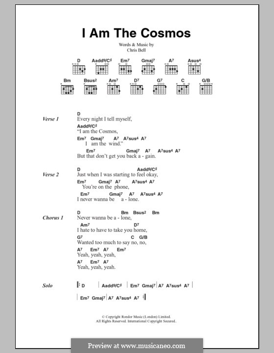I am the Cosmos: Lyrics and chords by Chris Bell