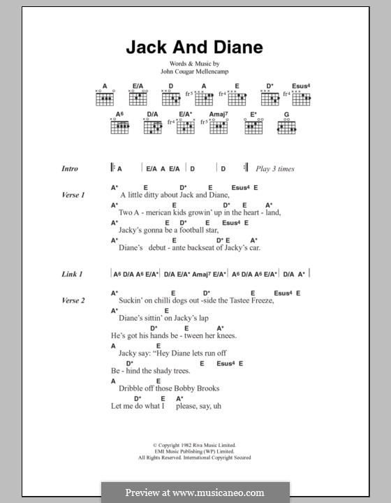 Jack and Diane by J. Mellencamp - sheet music on MusicaNeo
