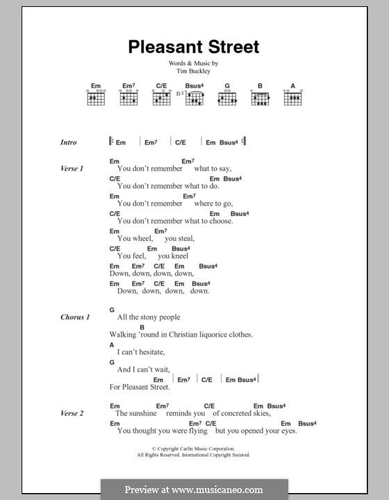 Pleasant Street: Lyrics and chords by Tim Buckley