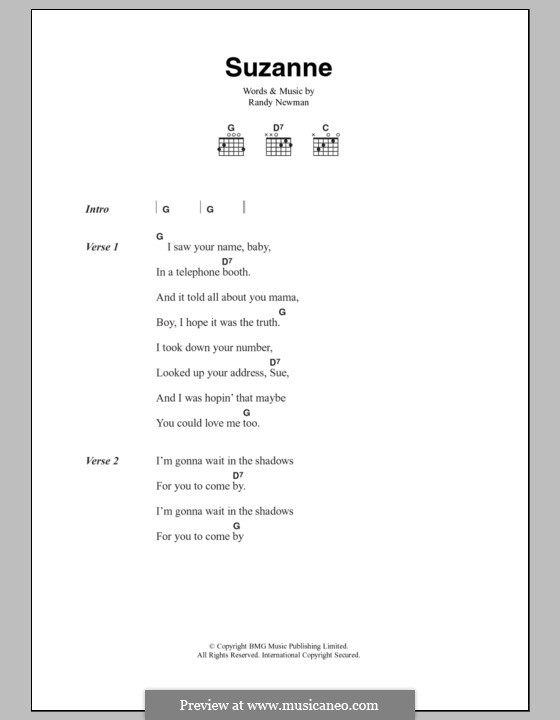 Suzanne: Lyrics and chords by Randy Newman