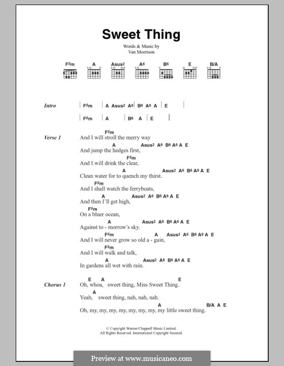 Sweet Thing By V Morrison Sheet Music On Musicaneo