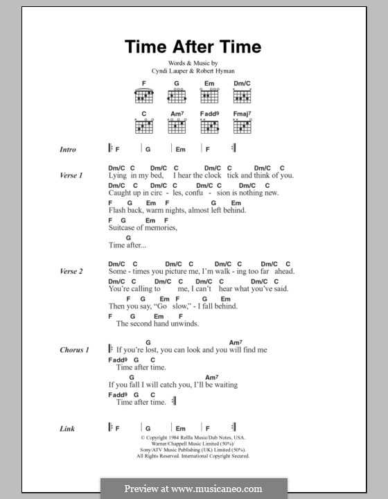 Time after Time: Lyrics and chords by Cyndi Lauper, Robert Hyman