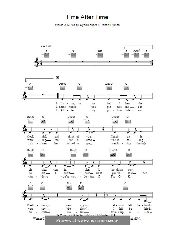 Time after Time by C. Lauper, R. Hyman - sheet music on MusicaNeo