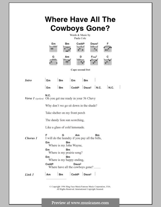 Where Have All the Cowboys Gone?: Lyrics and chords by Paula Cole