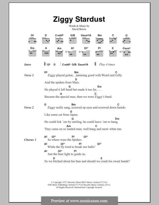 Ziggy Stardust by D. Bowie - sheet music on MusicaNeo