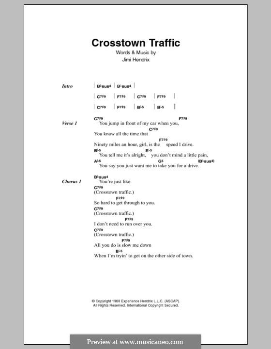 Crosstown Traffic: Lyrics and chords by Jimi Hendrix