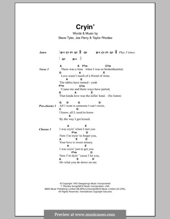 Cryin' (Aerosmith): Lyrics and chords by Joe Perry, Steven Tyler, Taylor Rhodes