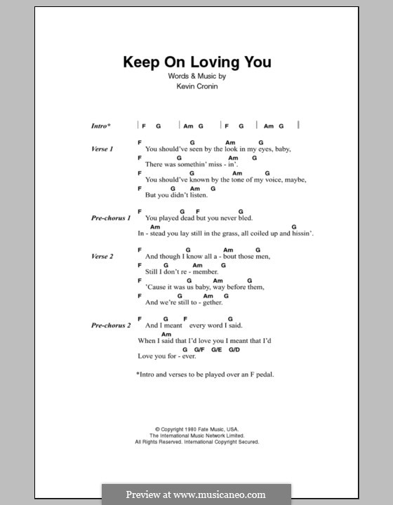 Keep on Loving You (REO Speedwagon): Lyrics and chords by Kevin Cronin