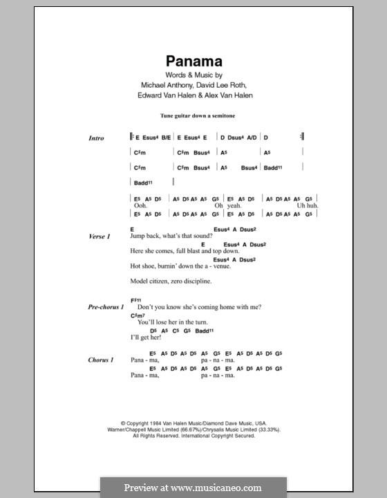 Panama (Van Halen): Lyrics and chords by Alex Van Halen, David Lee Roth, Edward Van Halen, Michael Anthony